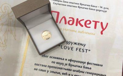 Lovefestu dodeljeni Zlatni dukat i plaketa za doprinos promociji Vrnjačke Banje