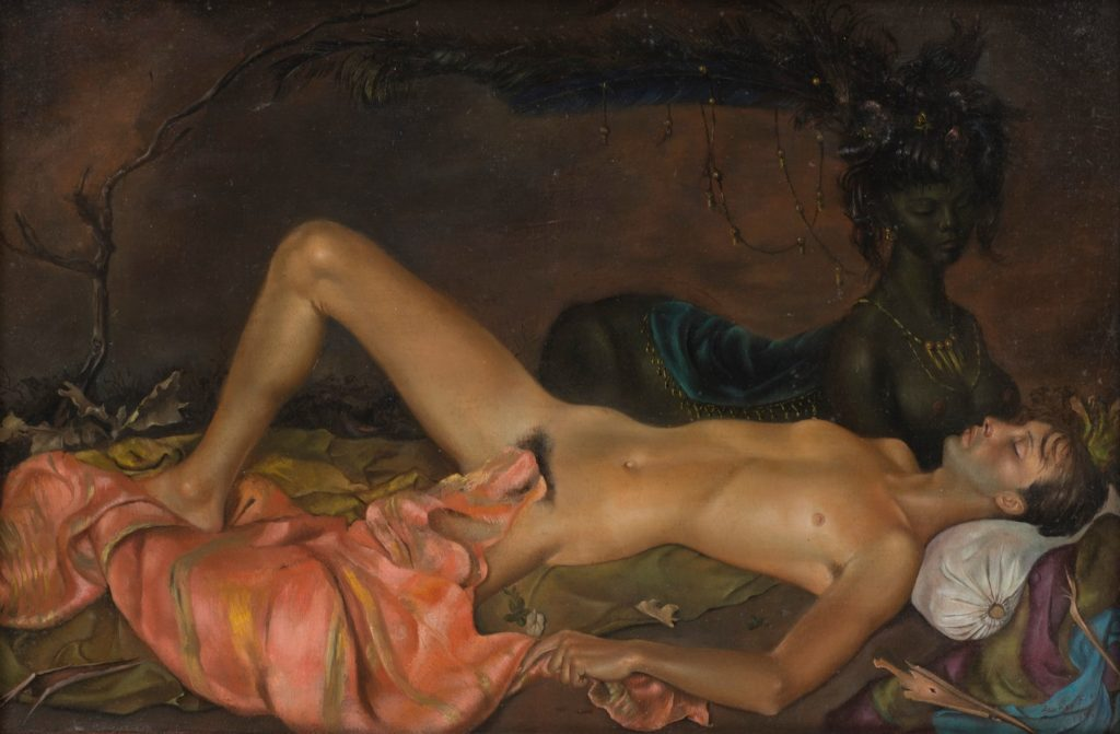 Leonora Fini, Chthonian Deity Watching over the Sleep of a Young Man