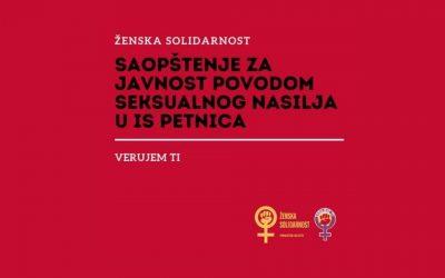 Saopštenje Ženske solidarnosti povodom seksualnog nasilja u IS Petnica